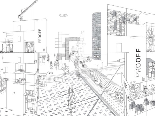 Detail of the office campus landscape drawing – How May I Help You?